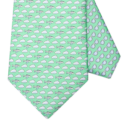 Men's Aeroplane Green Silk Tie