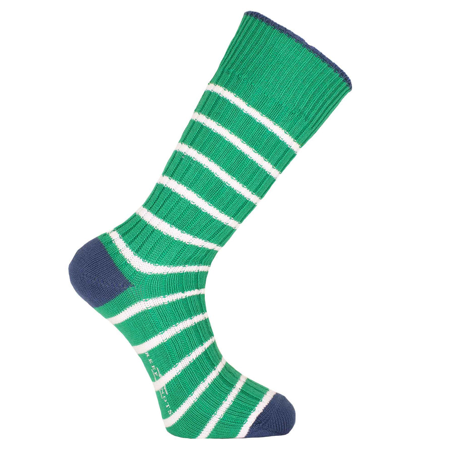 Green and White Stripe Socks - Chunky