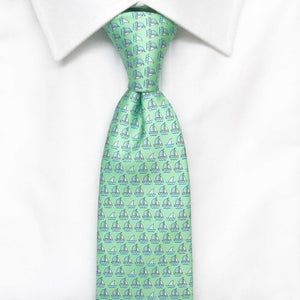 green boats and sharks printed silk tie