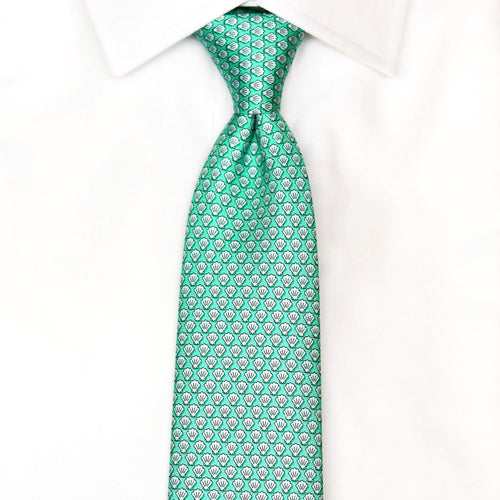 green shell printed silk tie