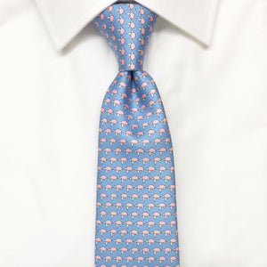 light blue sea turtle animal printed silk tie