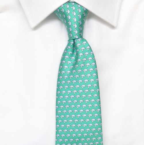 green sea turtle animal printed silk tie