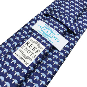 navy turtle animal silk tie