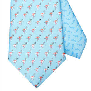 Men's Flamingo Light Blue Silk Tie