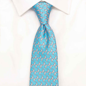 light blue gecko printed silk tie