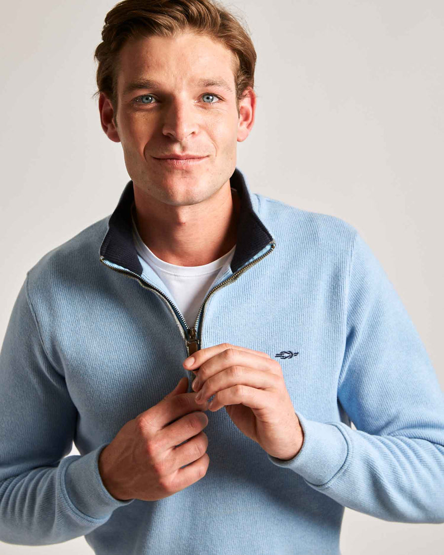 Light Blue Quarter Zip (Navy Contrast)