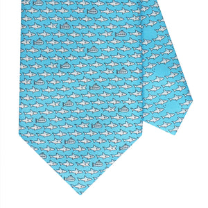 Men's Shark and Submarine Light Blue Silk Tie