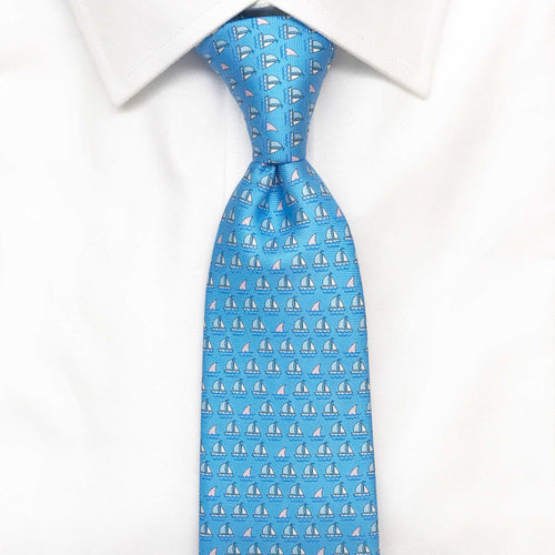 Men's Light Blue Boats and Sharks Silk Tie