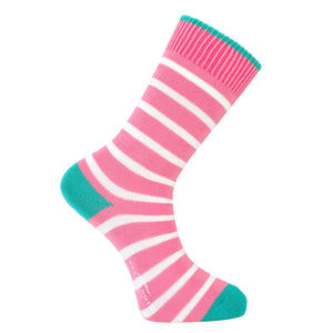Pink and White Stripe Socks - Lightweight