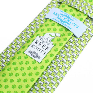Men's Polar Bear Lime Green Silk Tie