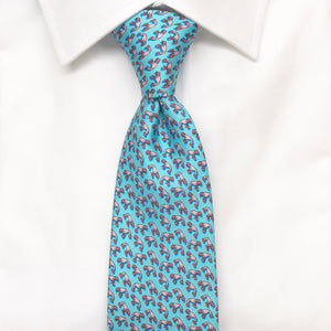light blue lobster printed silk tie
