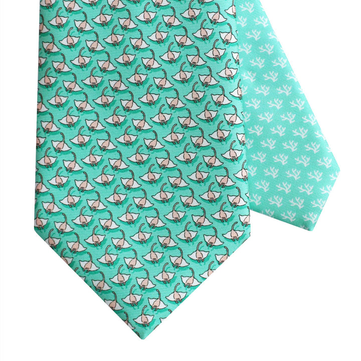 Men's Manta Ray Green Silk Tie