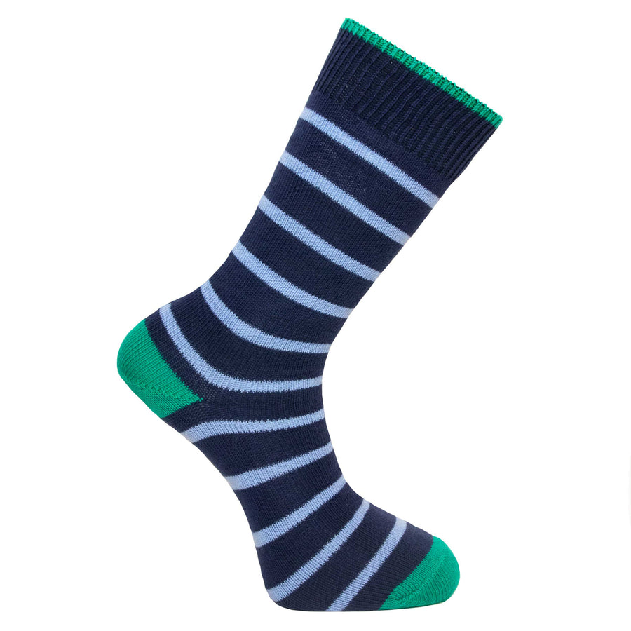 Marine and Light Blue Stripe Socks - Lightweight