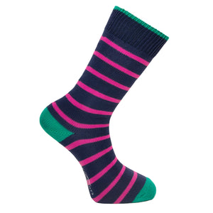 Marine and Pink Stripe Socks - Lightweight