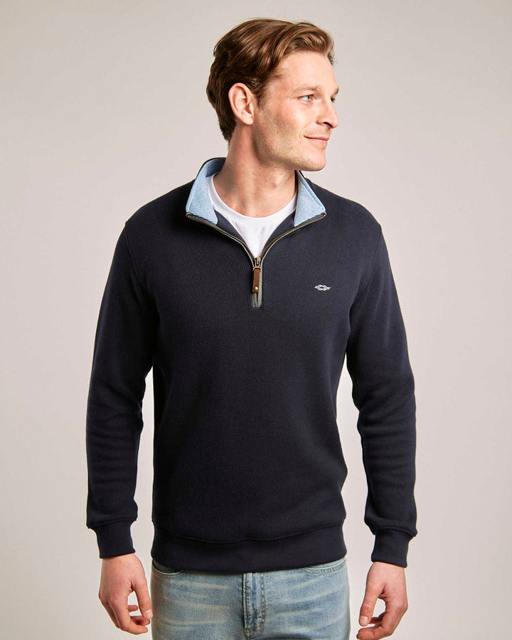 Navy Blue Quarter Zip (Light Blue Contrast)