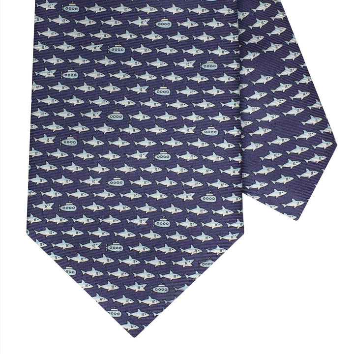 Men's Shark and Submarine Navy Blue Silk Tie