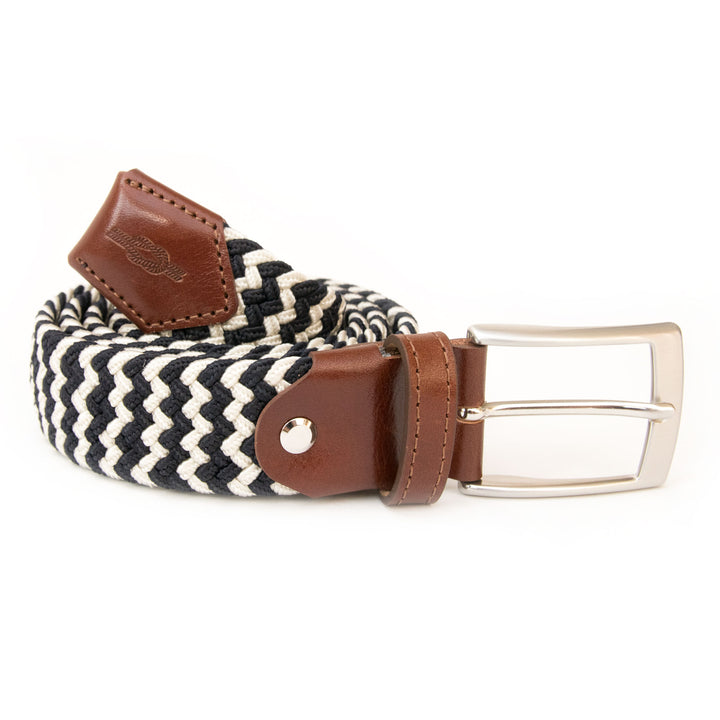 Navy & Cream Woven Elasticated Belt