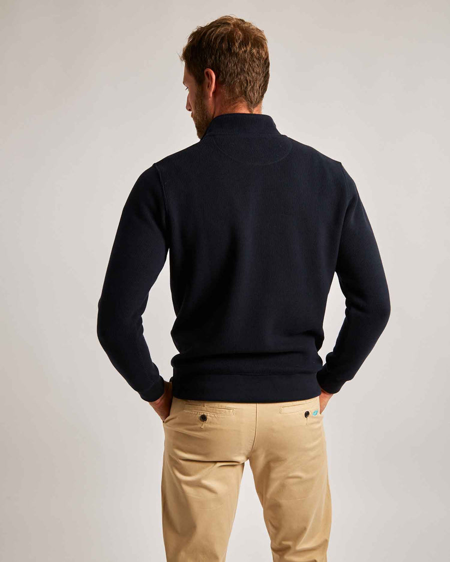 Navy Quarter Zip (Red Contrast)