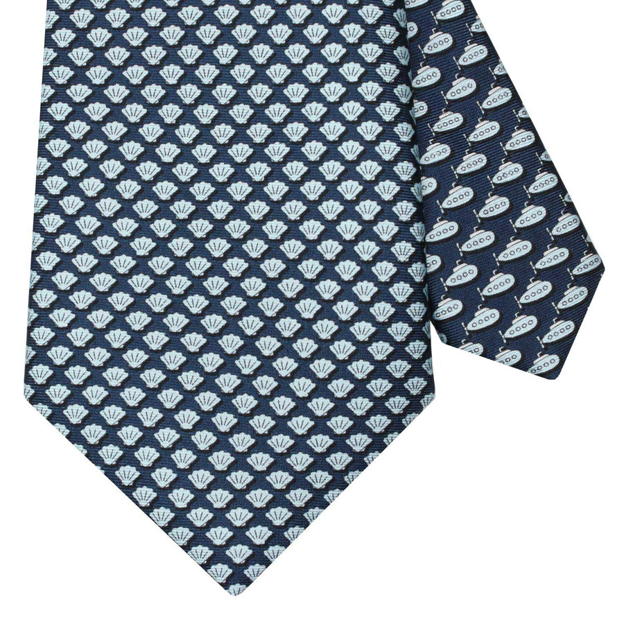 Men's Shells Navy Blue Silk Tie