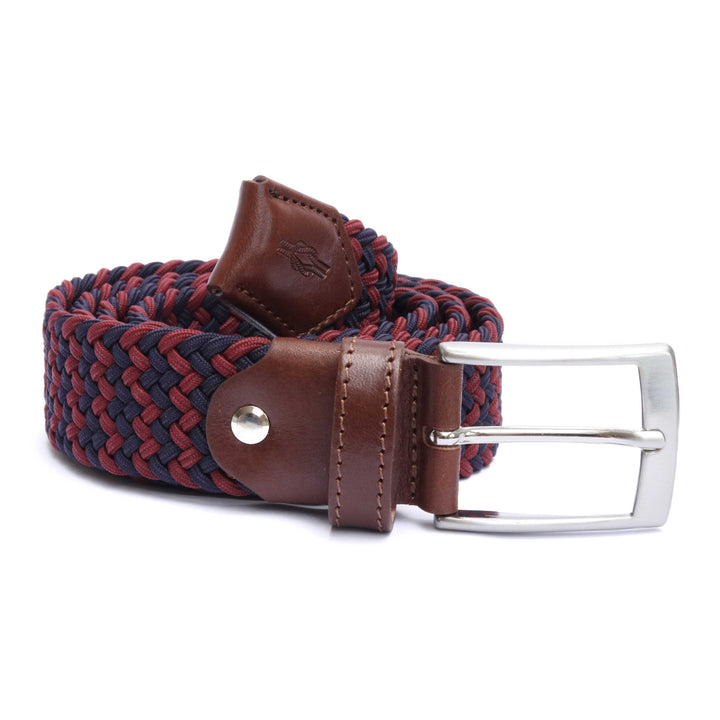 Navy & Burgundy Woven Elasticated Belt