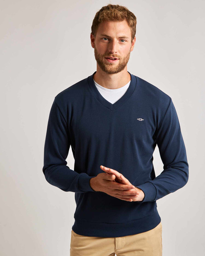 Navy Blue V-Neck