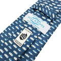 Navy blue fish printed silk tie