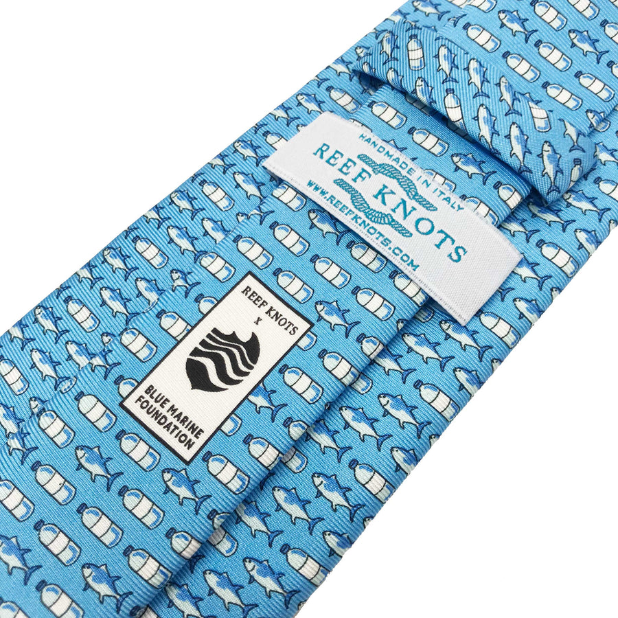 Light blue fish printed silk tie