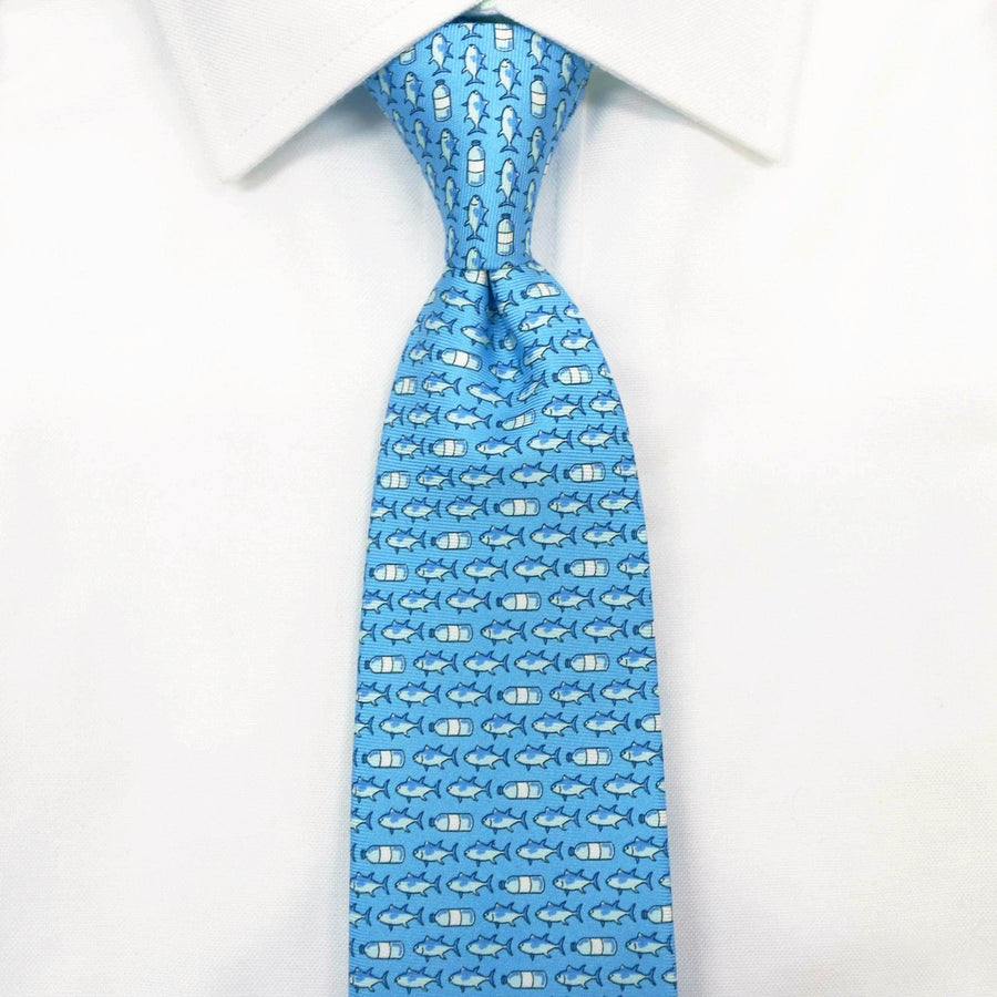 Light blue fish silk tie