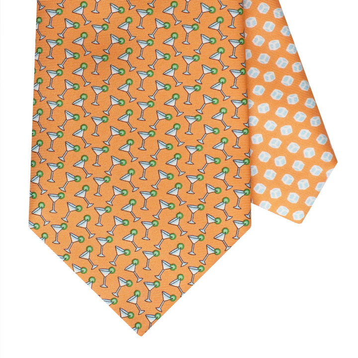 Men's Cocktail Orange Silk Tie