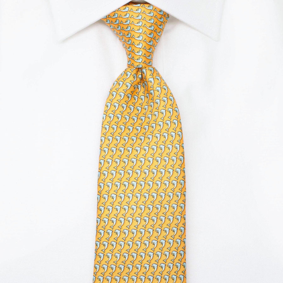 Men's Dolphin Orange Silk Tie