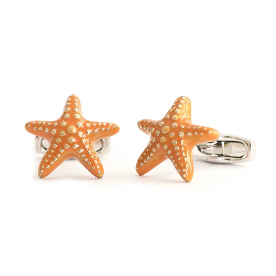 Orange Enamel Starfish Cufflinks