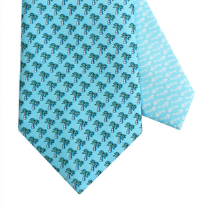 Men's Palm Tree Blue Silk Tie