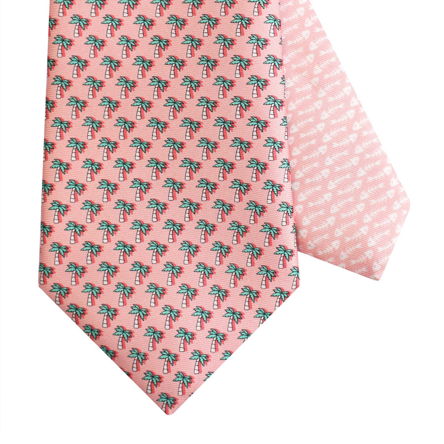 Men's Palm Tree Pink Silk Tie