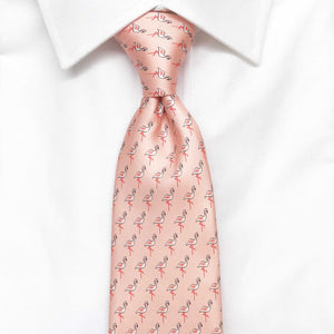pink flamingo animal printed silk tie