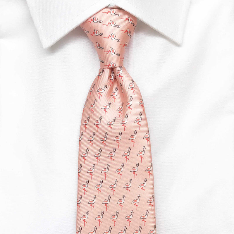 Men's Flamingo Pink Silk Tie