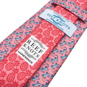 pink gecko animal printed silk tie