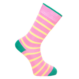 Pink and Yellow Stripe Socks - Lightweight