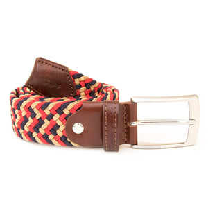 Red, Brown and Navy Woven Elasticated Belt