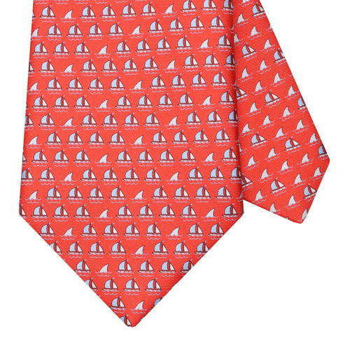 Men's Red Boats and Sharks Silk Tie
