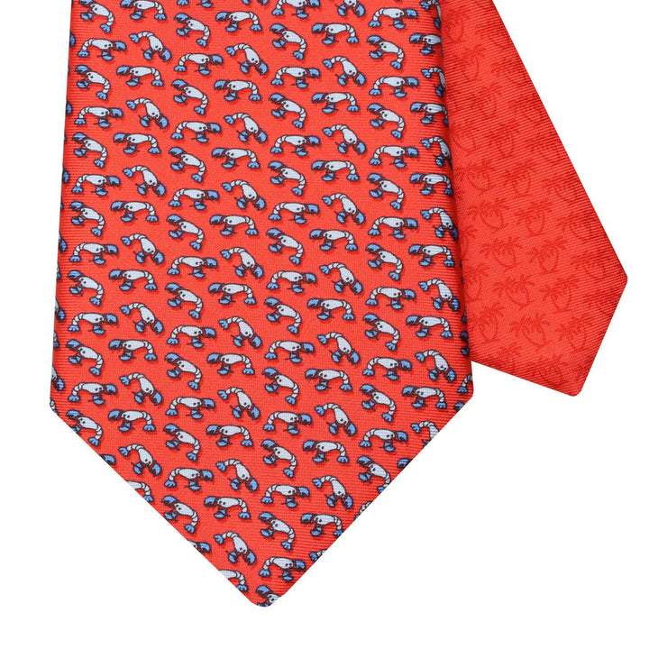 Men's Lobster Red Silk Tie