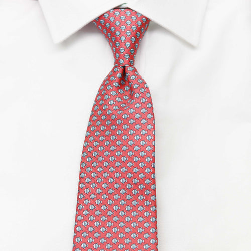 Men's Micro Fish Red Silk Tie