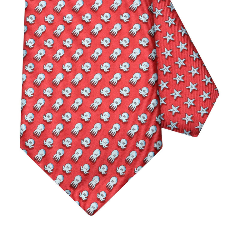 Men's Octopus Red Silk Tie