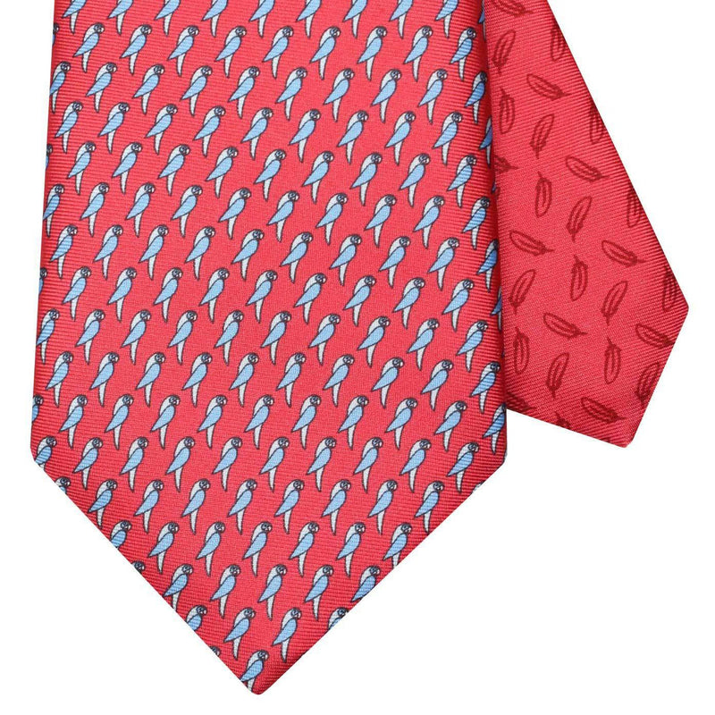 Men's Parrots Red Silk Tie
