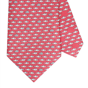 Men's Shark and Submarine Red Silk Tie