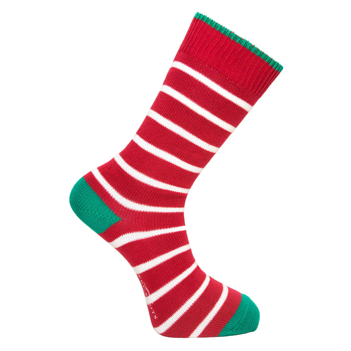 Redcurrant and White Stripe Socks - Lightweight