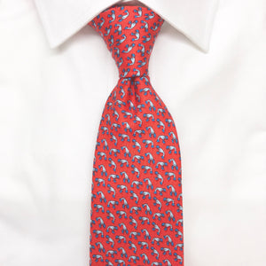 red lobster printed silk tie