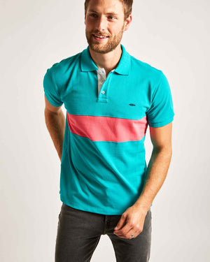Teal Striped Polo Shirt (White Contrast)