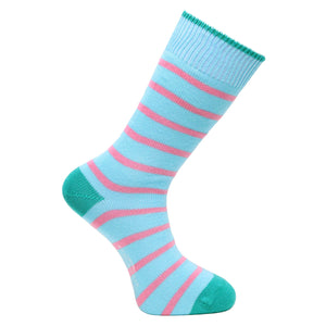 Turquoise Stripe Socks - Lightweight