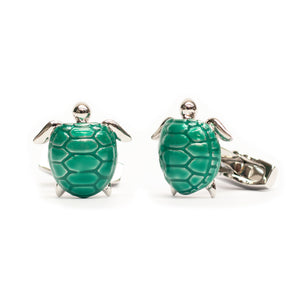 Teal Enamel Turtle Cufflinks