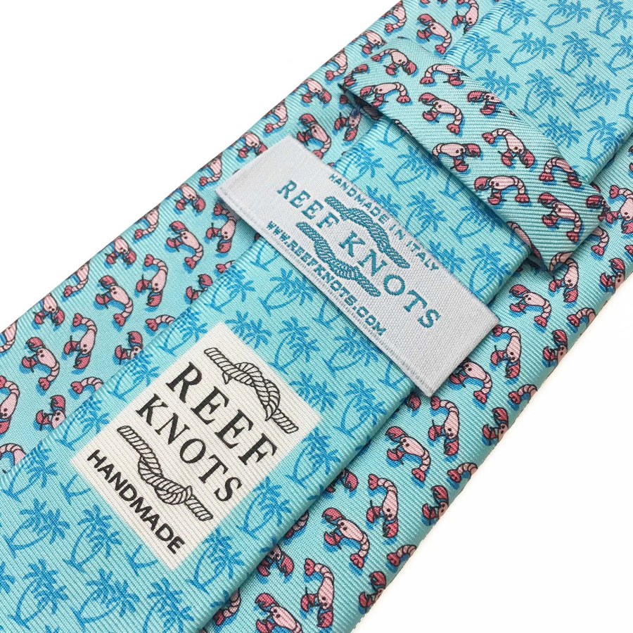 light blue lobster animal printed silk tie